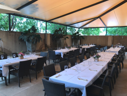 The Restaurant Courtyard is the perfect spot to eat during spring or host your next event