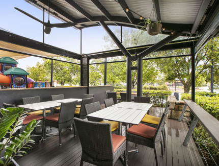 Dine in the outdoor area.