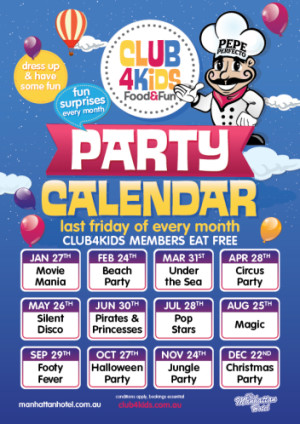 Club 4 Kids Party Calendar 2017