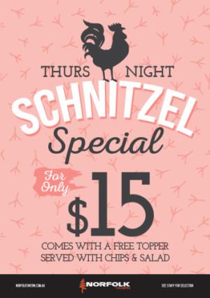 Thursday $15 Schnitzels