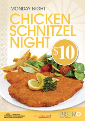 Monday $10 Chicken Schnitzel Night