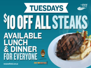 Tuesday $10 Off All Steaks