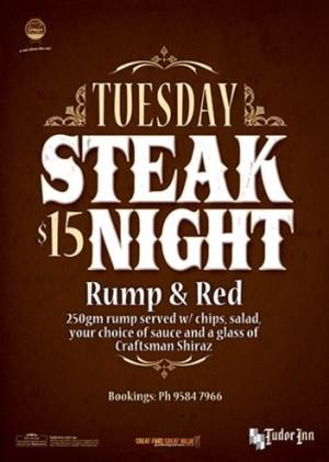 Tuesday $15 Steak Night