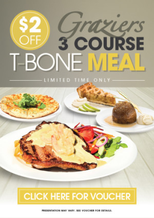 VOUCHER: $2 Off Graziers 3 Course T-Bone Meal