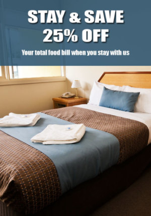 Stay & Save - 25% Off Your Food Bill