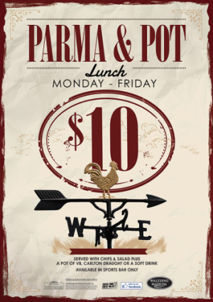 $10 Pot and Parma Lunch