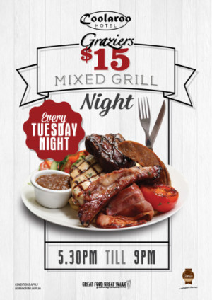 Tuesday $15 Mixed Grill Night