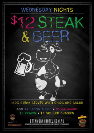 Wednesdays $12 Steak & Beer Night