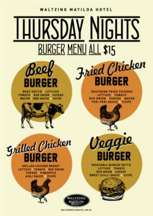 Thursday $15 Burgers
