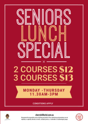 Monday to Thursday Seniors Lunch Special